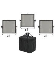 Studio Light Panels 3 x LED Panel 1x1 Bi-C DMX