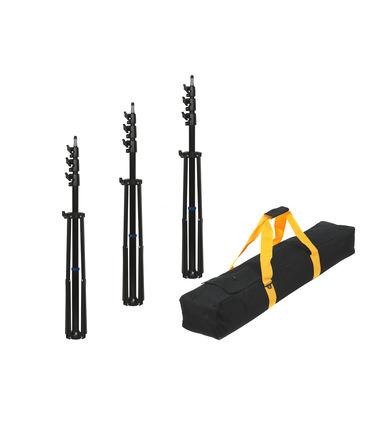 Pack: 3 x Light Stand 280 cm + Transport Bag